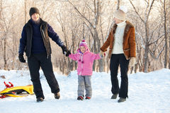 Family walking in a winter park Stock Images