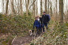 Family walking through a wood with their pet dog Royalty Free Stock Photography