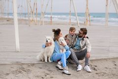 Happy family on a beach. stock images
