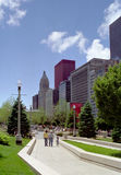 Family walks in Millennium Park Chicago Illinois U Royalty Free Stock Photography