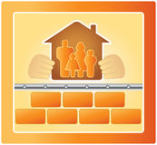 Family in the warm house. Project of warm house, bricks and family Royalty Free Stock Photography