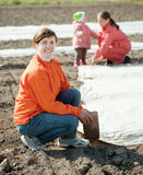 Family warms the soil with polyethylene Stock Image