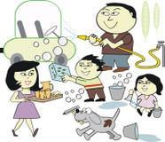 Family washing car cartoon. Cartoon of happy Asian family cleaning and washing car along with pet dog Stock Photo