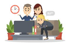Family watch TV. Family watch TV at home. Parents arguing with kid royalty free illustration