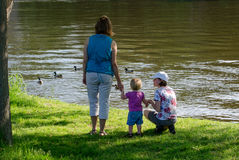 Family watches ducks on the st Joseph river Royalty Free Stock Image