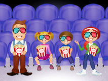 Family watches movies in 3d Stock Photo