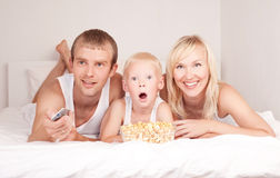 Family watchign TV Royalty Free Stock Image