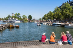 Family watching boats Vastervik Royalty Free Stock Photos
