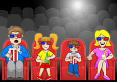Family is watching a 3D movie in a cinema. Vector illustration of a family is watching a 3D movie in a cinema Stock Images