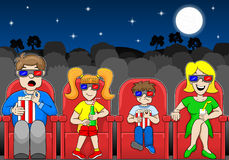Family is watching a 3D movie in an outdoor cinema. Vector illustration of a family is watching a 3D movie in an outdoor cinema Stock Photography
