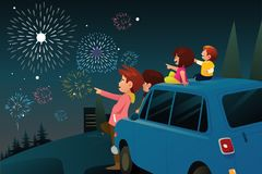 Family Watching Fireworks for New Year Celebration. A vector illustration of Family Watching Fireworks for New Year Celebration stock illustration