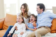 Family watching movie Stock Photos