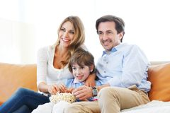 Family watching movie Royalty Free Stock Photo