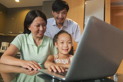 Family watching movie on the laptop Stock Image