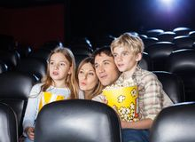 Family Watching Movie In Theater Stock Images