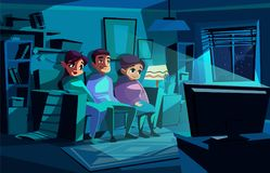 Family watching night TV vector illustration stock illustration