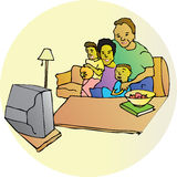 Family Watching Television. A family is sitting watching television in a fully scalable vector illustration royalty free illustration