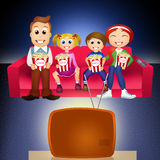 Family watching television Royalty Free Stock Images