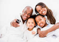 Family watching tv Stock Image