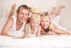 Family watching TV Stock Photos