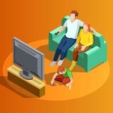 Family Watching TV Home Isometric Image. Young family watching tv in living room with little boy playing on carpet isometric view vector illustration Stock Photos