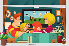 Family Watching TV at Home vector illustration