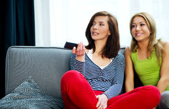 Family watching TV. Family watching TV, mother and doughter at free time Stock Photos