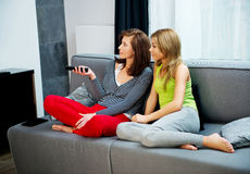 Family watching TV. Royalty Free Stock Image