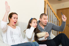 Family watching TV show Stock Image