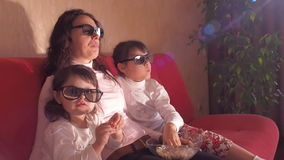 Family watching TV. stock footage