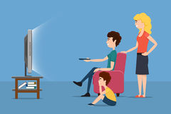 Family watching TV. Vector flat illustration. Family watching TV. Woman man child and screen. Vector flat illustration Stock Images