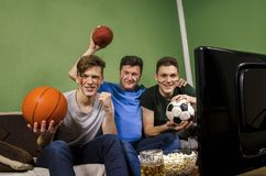 Family watching various sports on television concept. Father and sons holding balls for basketball, soccer and football stock photo