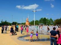 Family water fountain fun Stock Photography