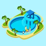 Family At Water Park Illustration Stock Photography