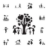The family watered the tree of love icon. Detailed set of Family icons. Premium quality graphic design sign. One of the collection. Icons for websites, web royalty free illustration