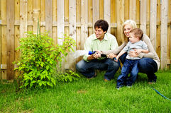 Family watering plant Royalty Free Stock Photo