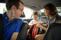 Family on the way for road trip holiday vacation Stock Photos