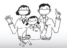 Family Wearing Face Masks. Hand drawn illustration of a family wearing face masks to prevent Swine Flu royalty free illustration