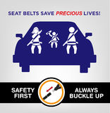 Family Wearing Seat Bealts while on the Car. Road Safety Concept. Family Wearing Seat Belts on a Car. Buckle Up Awareness Campaign Poster template editable vector illustration