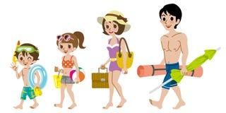 Family wearing Swimwear, Isolated Royalty Free Stock Photo