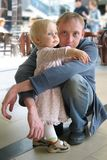 Family weekend. Father and baby girl in the trade centre Stock Image