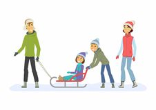 Family weekend - cartoon people characters illustration Royalty Free Stock Images