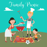 Family Weekend. Happy Family Doing Barbecue on Picnic. Royalty Free Stock Photo