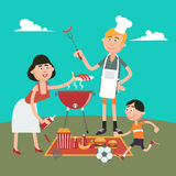 Family Weekend. Happy Family Doing Barbecue on Picnic. Stock Images