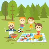 Family weekend. Happy family picnic. The family spends a weekend together outdoors Stock Images