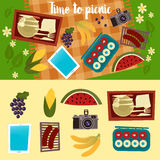 Family Weekend. Picnic Set. Summer Picnic royalty free illustration