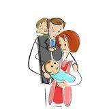 Family welcoming new born baby. Vector illustration of family welcoming new born baby royalty free illustration