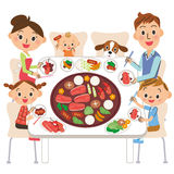 Family who eats roasted meat Royalty Free Stock Image