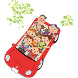 The family who goes for a drive Royalty Free Stock Photos