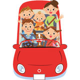 The family who goes for a drive Royalty Free Stock Image